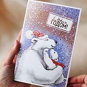 Открытки handmade. Livemaster - original item Christmas card.Happy New year.. Handmade.