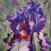 Картины и панно ручной работы. Ярмарка Мастеров - ручная работа Не дорого подарок женщине картина маслом с фиолетовым ирисом. Handmade.