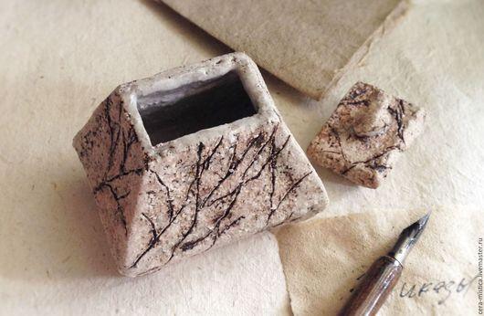 Письменные приборы ручной работы. Ярмарка Мастеров - ручная работа. Купить Чернильница керамическая. Handmade. Бежевый, алла кузьмина, глина