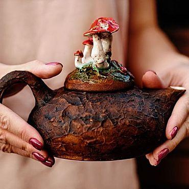 Посуда ручной работы. Ярмарка Мастеров - ручная работа Мухоморы чайник. Handmade.