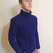 Свитеры ручной работы. Ярмарка Мастеров - ручная работа Вязаный шерстяной мужской свитер с косами. Handmade.