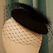 Винтаж ручной работы. Ярмарка Мастеров - ручная работа Шляпка таблетка с вуалью черная. Handmade.