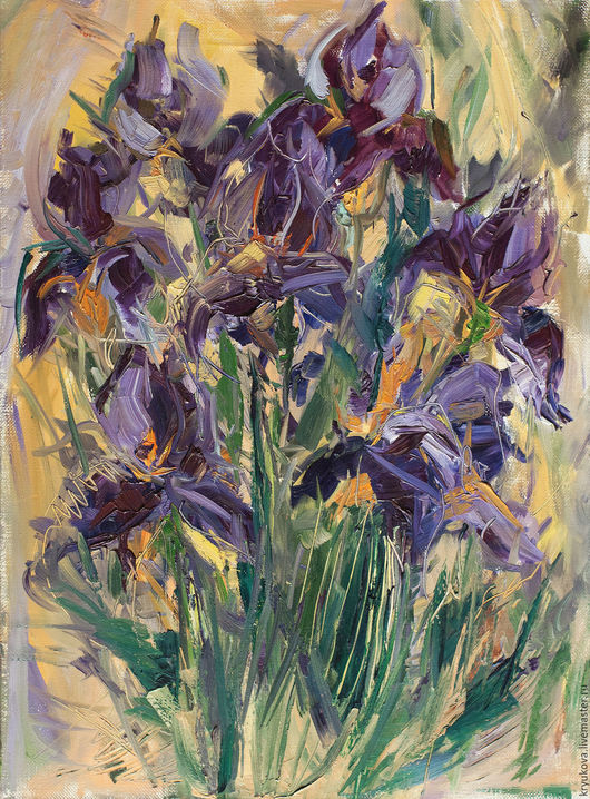 Фиолетовые ирисы Букет цветов картина Яркая картина купить Картина с цветами Летние цветы Импрессионистическая картина