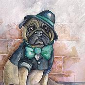 Картины и панно ручной работы. Ярмарка Мастеров - ручная работа Картина акварелью с собакой мопс - Последний романтик. Handmade.