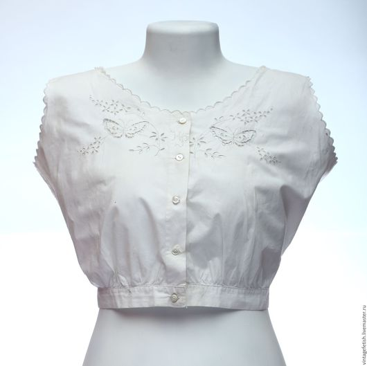 Одежда. Ярмарка Мастеров - ручная работа. Купить Старинная сорочка  под корсет с бабочками. Handmade. Белый, винтажное бельё