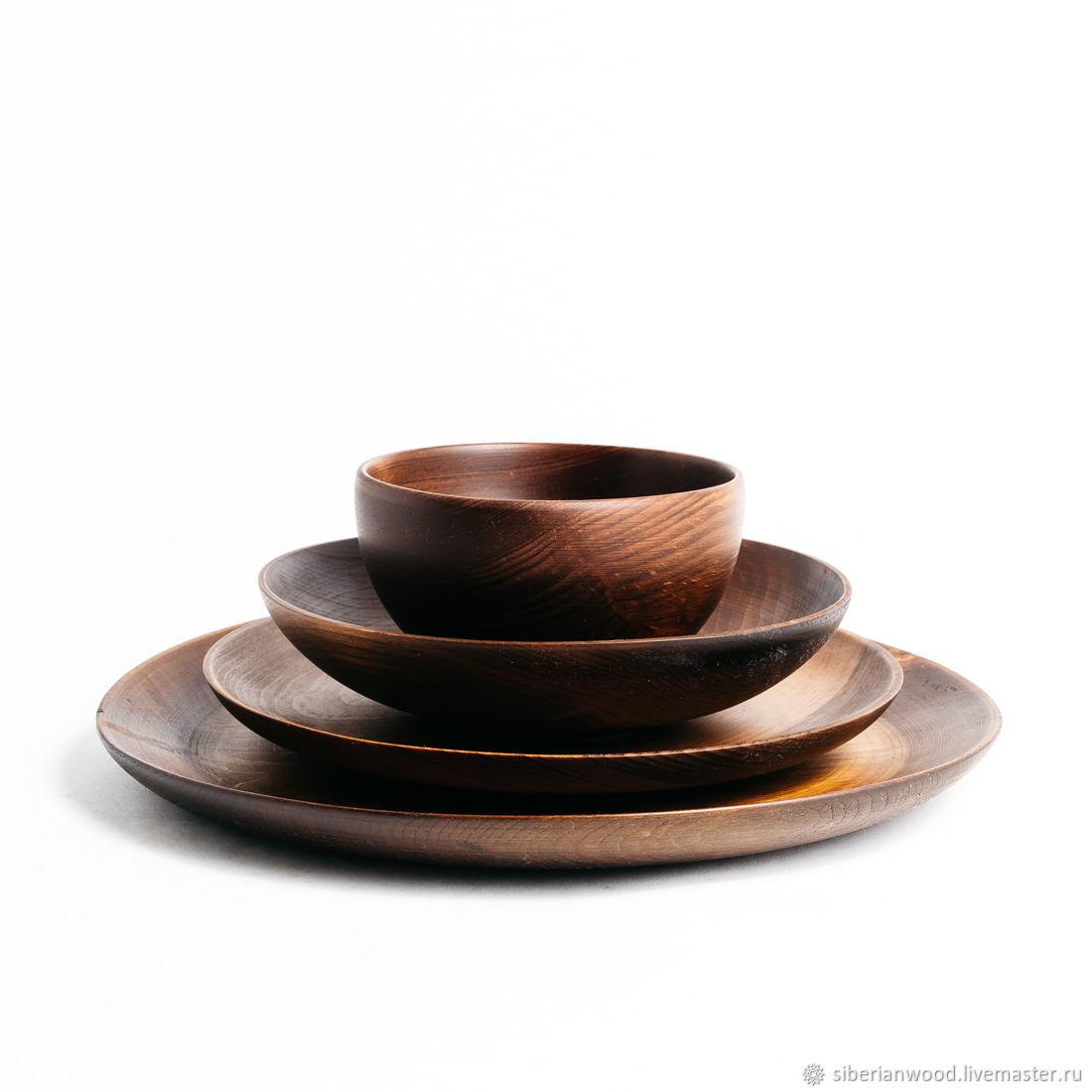 Wooden plates set of Siberian Cedar dish for kitchen #TN47, Tureens, Novokuznetsk,  Фото №1