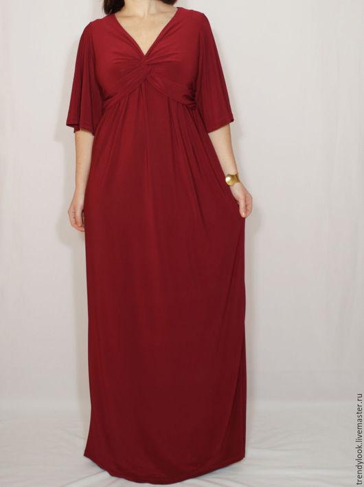 Платья ручной работы. Ярмарка Мастеров - ручная работа. Купить Платье винного цвета,макси платье в пол,короткий рукав. Handmade.