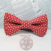 Аксессуары handmade. Livemaster - original item Classic red pea Bow Tie/ Wedding Bow Tie/ cotton classic in 2 two-ply/. Handmade.