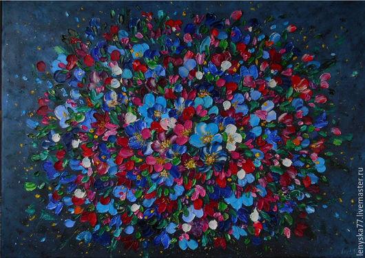Картины цветов ручной работы. Ярмарка Мастеров - ручная работа. Купить Картина маслом Гармония души . 50х70см. Handmade. Комбинированный