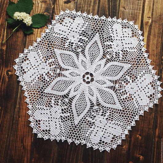 Текстиль, ковры ручной работы. Ярмарка Мастеров - ручная работа. Купить Салфетка крючком белого цвета. Handmade. Белый