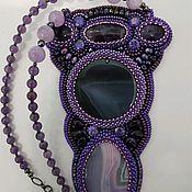 Украшения handmade. Livemaster - original item Necklace pendant agate and amethyst beaded