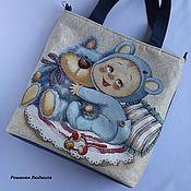 """Классическая сумка ручной работы. Ярмарка Мастеров - ручная работа Сумка для детской коляски """"Малыш в голубом"""" большая для мамы ребенка. Handmade."""