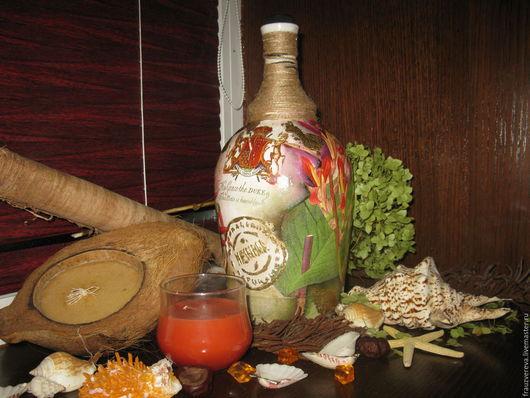"""Декоративная посуда ручной работы. Ярмарка Мастеров - ручная работа. Купить """"Колониальная"""". Handmade. Комбинированный, Бутылка для вина, бутылка стеклянная"""