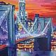 """Город ручной работы. Заказать Картина """"Ночной Манхеттен"""" (продано). Beresklet. Ярмарка Мастеров. Городской пейзаж, здания, залив, картон"""