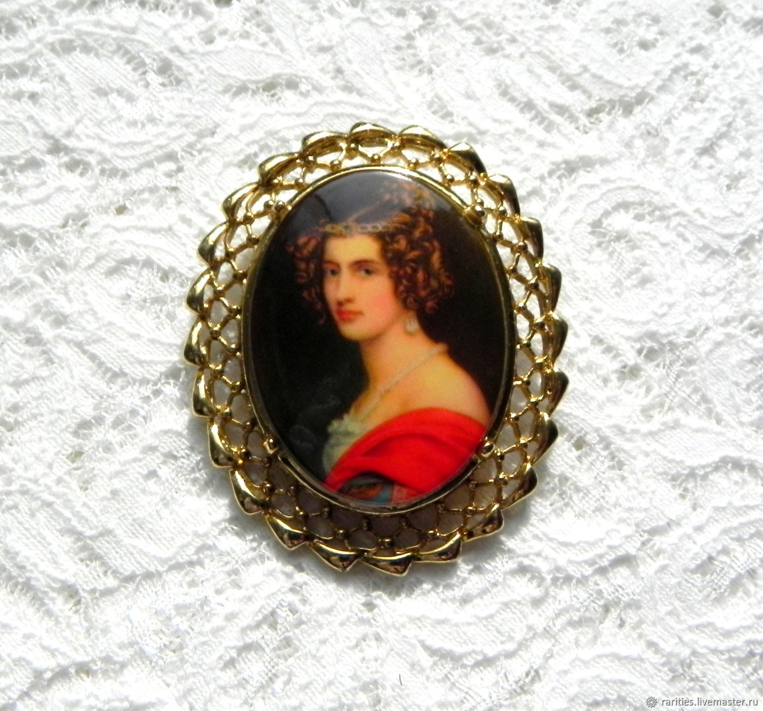 Brooch portrait of a beautiful lady,United States,70 years of the famous painting, Vintage brooches, Moscow,  Фото №1
