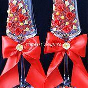Свадебный салон ручной работы. Ярмарка Мастеров - ручная работа Свадебные бокалы в красно-желтой гамме. Handmade.