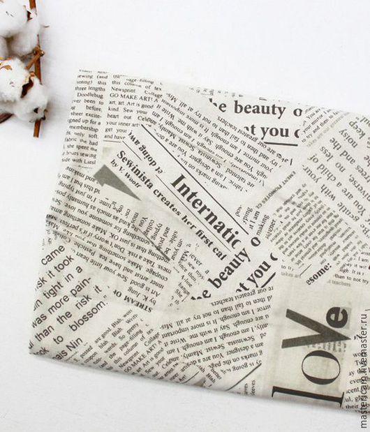 """Шитье ручной работы. Ярмарка Мастеров - ручная работа. Купить Ткань хлопок Корея 100% """"Газета"""" 55 х 45 см. Handmade."""