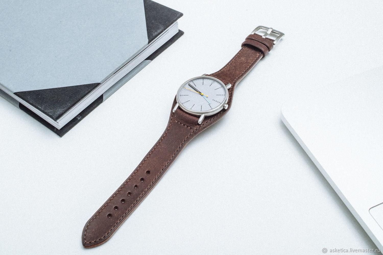Watch Belts handmade. Livemaster - handmade. Buy Watchband, leather, Bund / Strap.Watchband, strap 20mm, linen thread