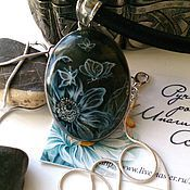 Украшения handmade. Livemaster - original item pendant with hand-painted labradorite flickering moths. Handmade.