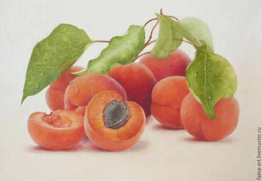 """Натюрморт ручной работы. Ярмарка Мастеров - ручная работа. Купить """"Дивные абрикосы"""", картина маслом, натюрморт, гипер-реализм. Handmade."""