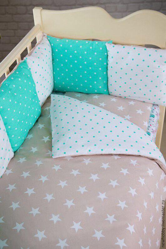 Для новорожденных, ручной работы. Ярмарка Мастеров - ручная работа. Купить Комплект в детскую кроватку. Handmade. Белый, постельное белье
