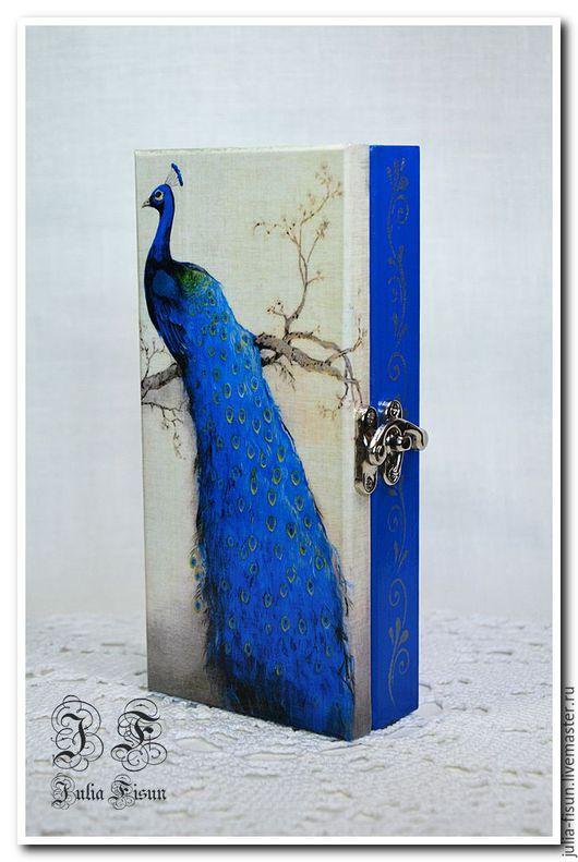 """Шкатулки ручной работы. Ярмарка Мастеров - ручная работа. Купить Купюрница-шкатулка """"Peacock"""". Handmade. Синий, шкатулка деревянная"""