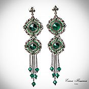 Украшения handmade. Livemaster - original item Green earrings Alice. Green crystals. Earrings