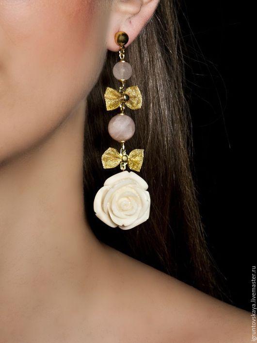 """Серьги ручной работы. Ярмарка Мастеров - ручная работа. Купить Сережки """"Белая Роза"""". Handmade. Розовый, розочки, стильное украшение"""