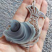 """Украшения ручной работы. Ярмарка Мастеров - ручная работа Кулон """"Рыбка"""" агат серебро. Handmade."""