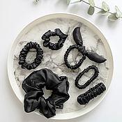 Украшения handmade. Livemaster - original item Black Silk Hair Band large 100% silk satin. Handmade.