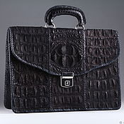 Сумки и аксессуары handmade. Livemaster - original item Crocodile leather briefcase, inner filling-IMA0562B1 leather. Handmade.