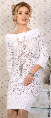 """Платья ручной работы. Ярмарка Мастеров - ручная работа. Купить Вязаное платье """" ЦВЕТЫ"""". Handmade. Белый, однотонный"""