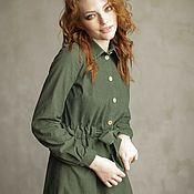 Одежда ручной работы. Ярмарка Мастеров - ручная работа Зелёное платье-рубашка в горох, хлопковый вельвет, длинный рукав. Handmade.