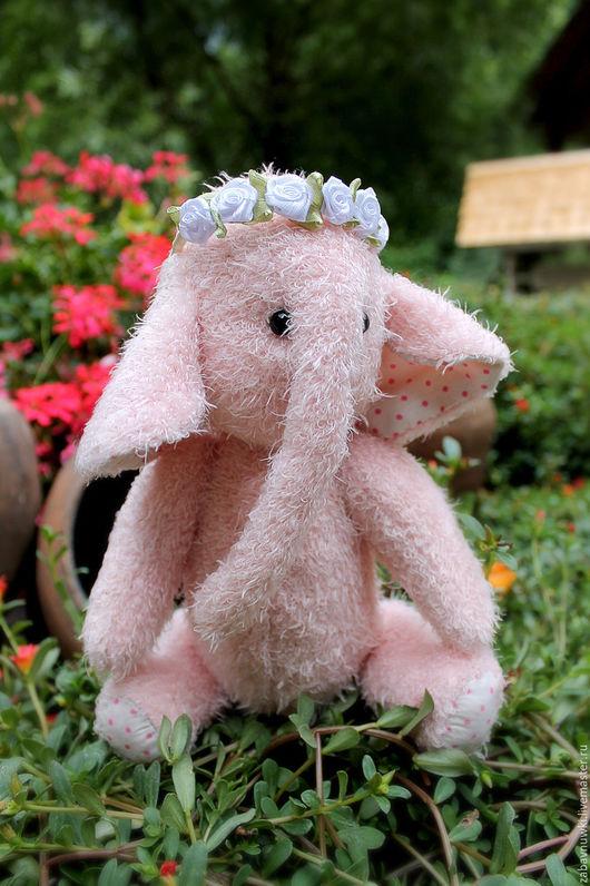 Мишки Тедди ручной работы. Ярмарка Мастеров - ручная работа. Купить Розочка. Розовый слон тедди с ободком из роз. Handmade.