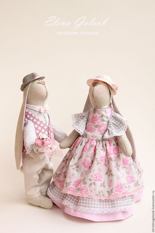 """Куклы Тильды ручной работы. Ярмарка Мастеров - ручная работа. Купить Пара зайчиков """"Первое свидание"""". Handmade. Бледно-розовый"""