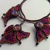 Украшения handmade. Livemaster - original item Necklace with Shibori silk ribbon,