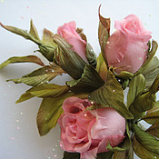 Украшения handmade. Livemaster - original item Silk flowers.Decoration brooch flower BUDS LUXURY - 2. pink roses. Handmade.
