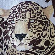 """Картины и панно ручной работы. Ярмарка Мастеров - ручная работа Панно """"Леопард"""". Handmade."""