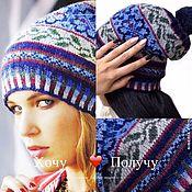 Аксессуары handmade. Livemaster - original item Women`s cap with jacquard, p. 54-56, with ornament, lined, wool. Handmade.