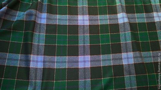 Шитье ручной работы. Ярмарка Мастеров - ручная работа. Купить Костюмная шерсть Клетка зеленая и лавандовая. Handmade. Купить ткань