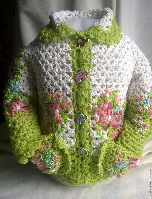 Одежда для девочек, ручной работы. Ярмарка Мастеров - ручная работа. Купить Кофточка для девочки. Handmade. Белый, кофточка на пуговицах