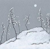 Картины и панно ручной работы. Ярмарка Мастеров - ручная работа А4 Северный пейзаж, графика. Handmade.