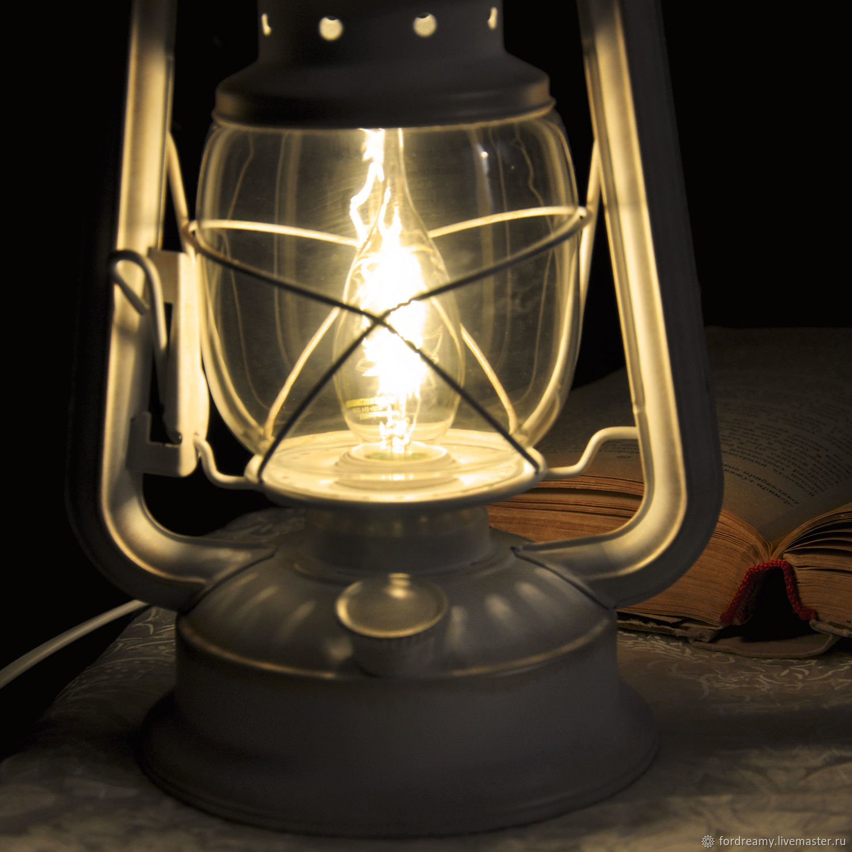 Table lamp electric oil lantern white Provence retro ...