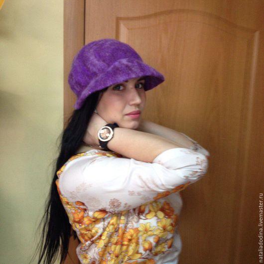 """Шляпы ручной работы. Ярмарка Мастеров - ручная работа. Купить Шляпка-кепка валяная  """"Элегантность"""". Handmade. Фиолетовый, нарядная"""