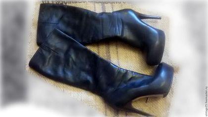 """Винтажная обувь. Зимние сапоги оригинал Кожа мех. Винтажный салон """"Консуэлло"""". Ярмарка Мастеров. Сапоги кожаные, натуральная кожа"""