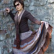 Одежда ручной работы. Ярмарка Мастеров - ручная работа Коричневая многоярусная,романтичная,длинна юбка в стиле бохо. Шоколад. Handmade.