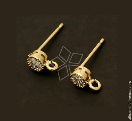 Для украшений ручной работы. Ярмарка Мастеров - ручная работа. Купить Гвоздики для серёг (с цирконом) Gold Plated Южная Корея. Handmade.
