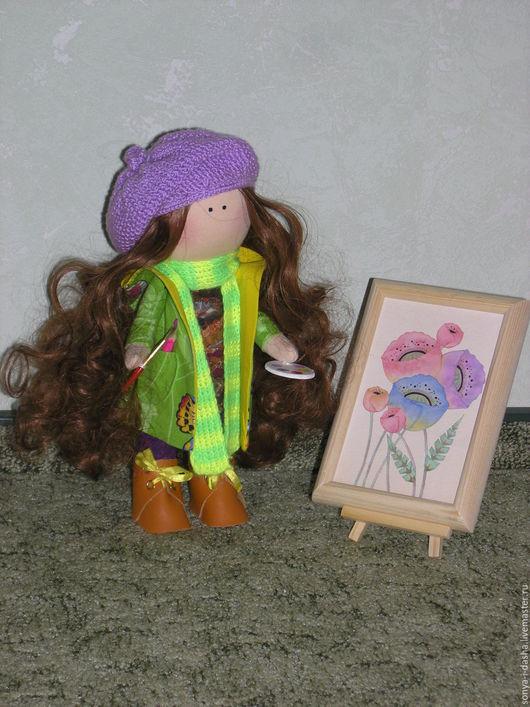 Коллекционные куклы ручной работы. Ярмарка Мастеров - ручная работа. Купить Текстильная кукла Художник. Handmade. Комбинированный, палитра, картина