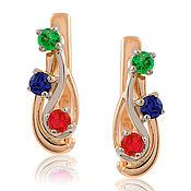 Украшения handmade. Livemaster - original item 585 gold earrings with rubies, emeralds and sapphires. Handmade.