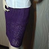 Одежда ручной работы. Ярмарка Мастеров - ручная работа Фиолетовая  ажурная вязаная прямая юбка-карандаш. Handmade.